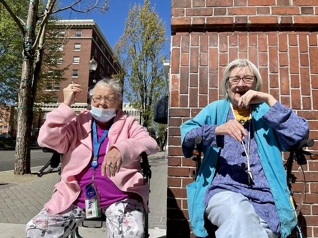 Portlanders basking in spring sunshine. April 221