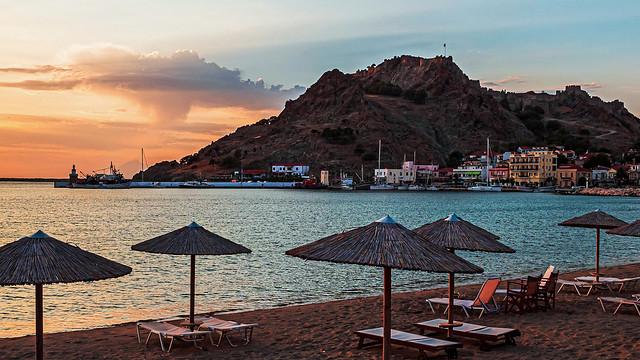 The Town Beach (Evening Approaches) Myrina - Lemnos  Greece  (Agfa Ultra Color 100) ( Ricoh GR3)
