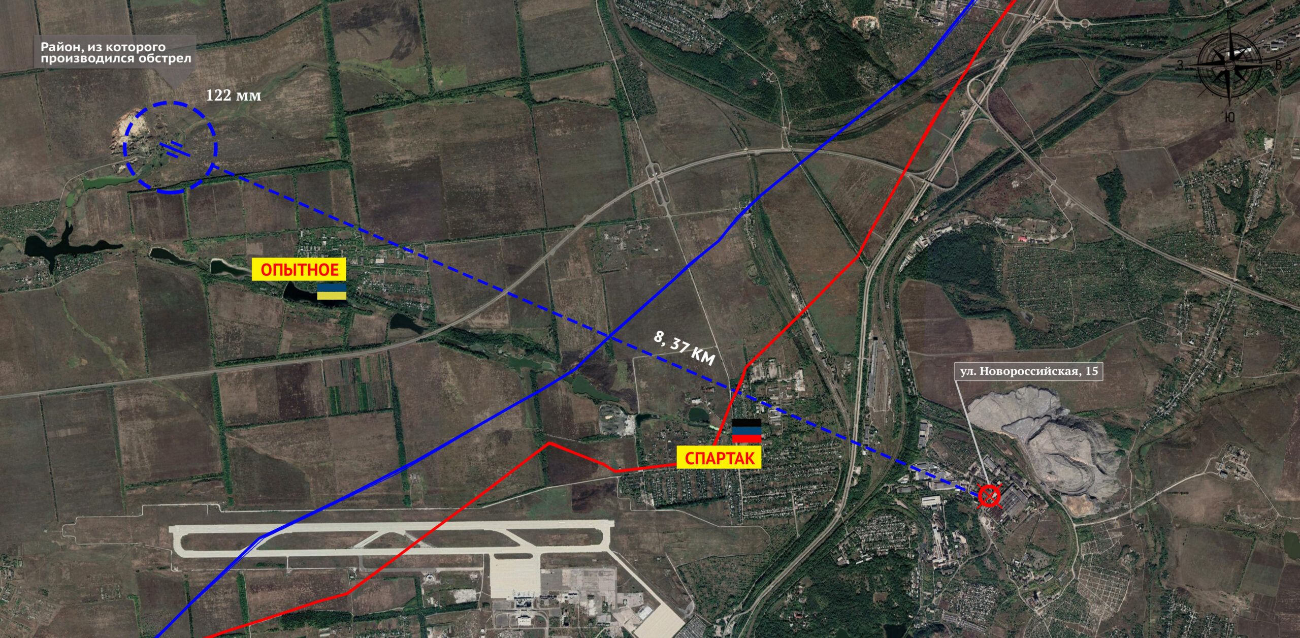 Carte des tirs d'artillerie de 122 mm de l'armée ukrainienne