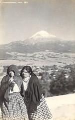 Mexican Woman Mujeres Popo Volcano Postcard