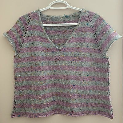 I finished and blocked my second Rock It Tee by Tanis Lavallee