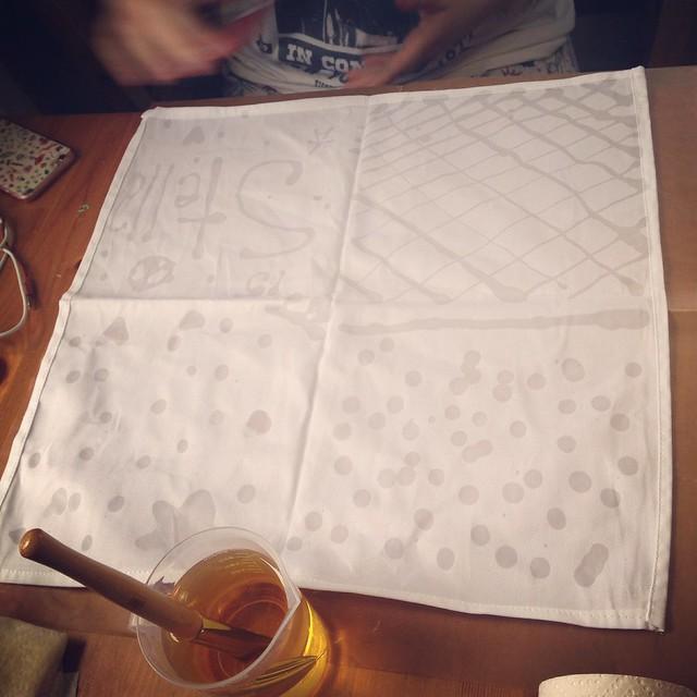 Zu making batik print fabric, first step.