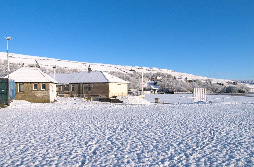 Fresh snowfall - only 6 days to the start of the cricket season at Hemplow, Marsden Cricket Club.