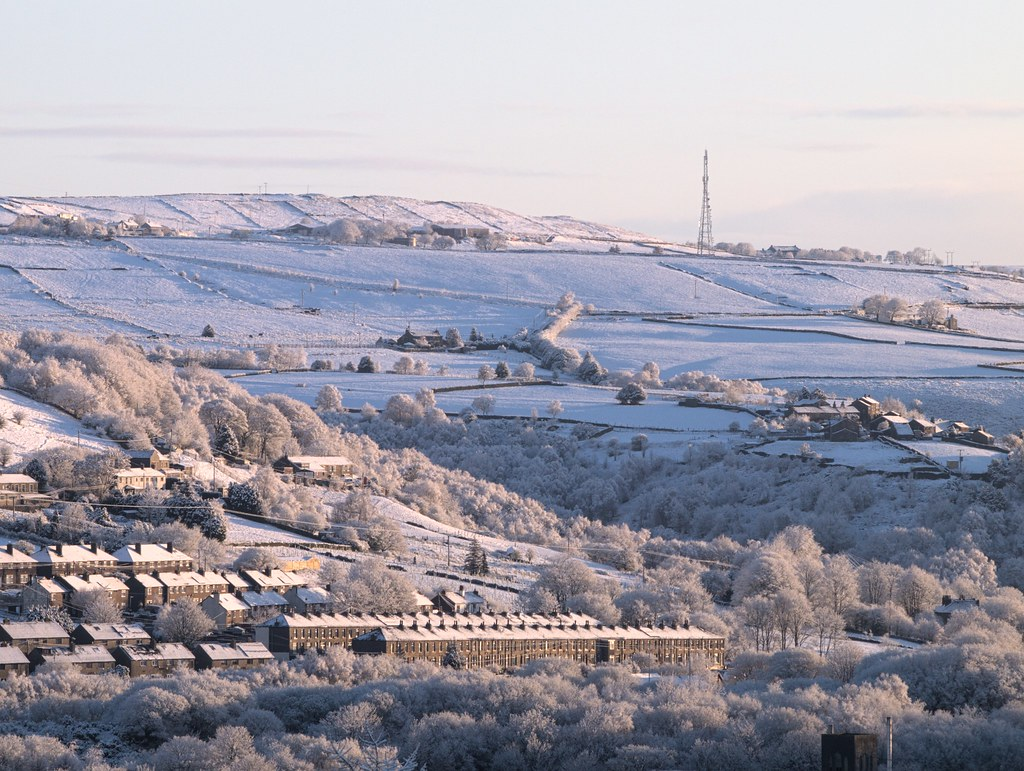 Dawn with fresh snow over Dirker and Cop Hill, from Hemplow, Marsden.