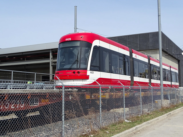TTC 4426 Flexity Outlook LRV Sitting On A Flat Car To Be Off Loaded After Weldes Repairs At Hillcrest Yard