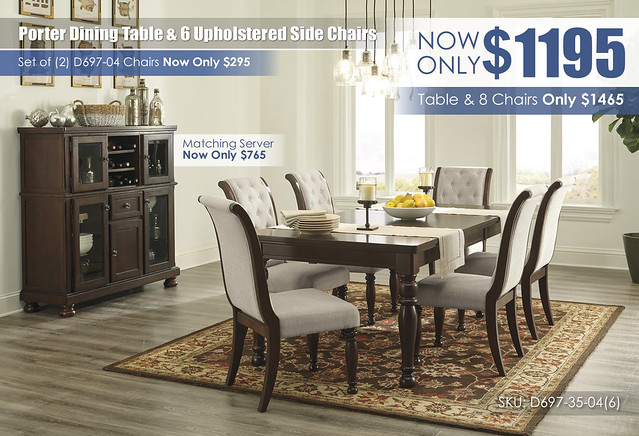 Porter Dining Table & 6 Upholstered Side Chairs_D697-35-04(6)-76_Updated