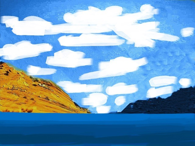 Cloudy Sunny Summer Day With Ocean & Mountains - Edited Photo Created by STEVEN CHATEAUNEUF On April 16, 2021