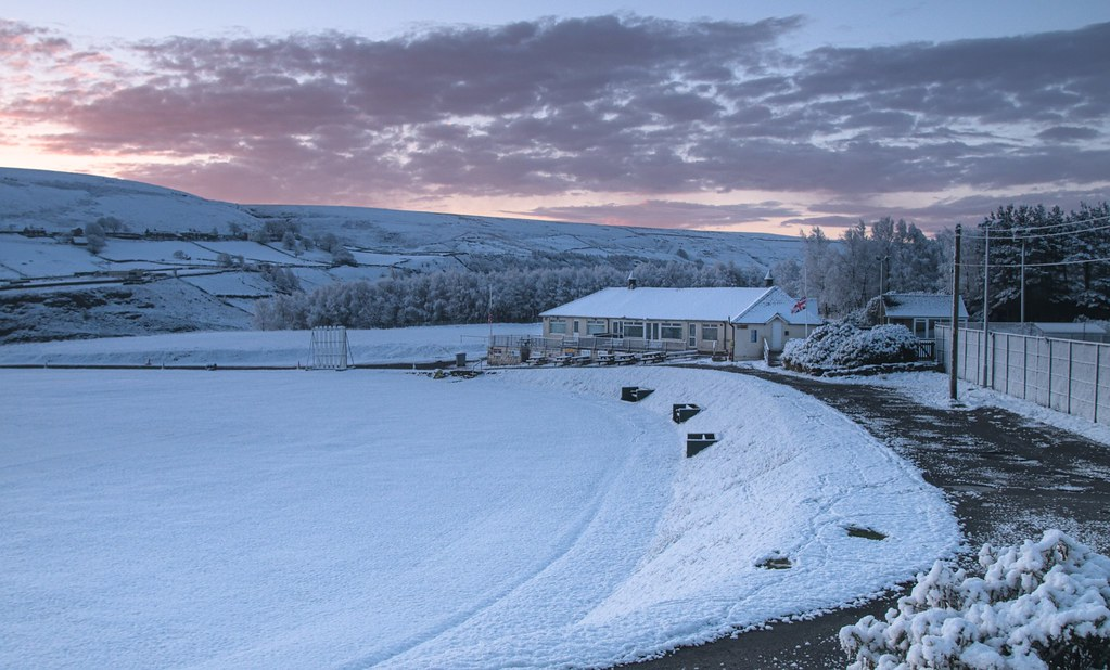 Dawn with fresh snowfall - only 6 days to the start of the cricket season at Hemplow, Marsden Cricket Club.