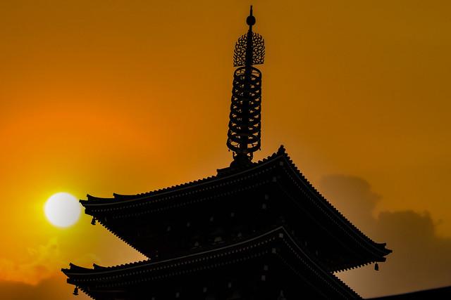 Sunset At A Japanese Pagoda