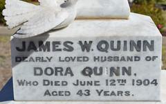 James W Quinn & Dora Quinn headstone inscription