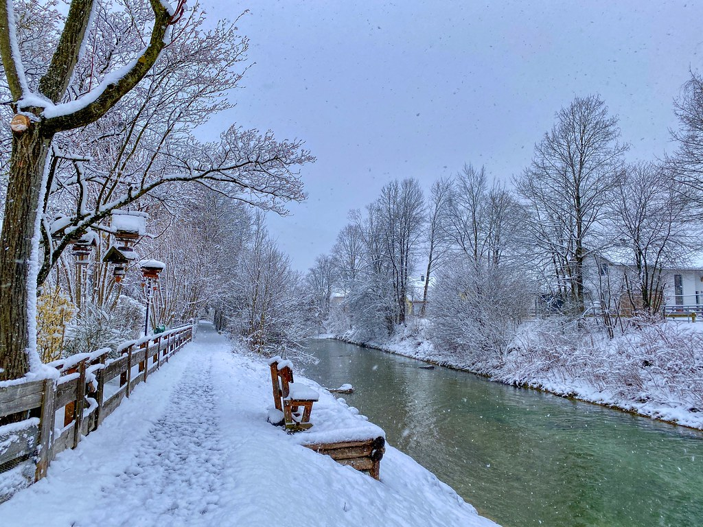 Winter at Kieferbach creek in Kiefersfelden in Bavaria, Germany
