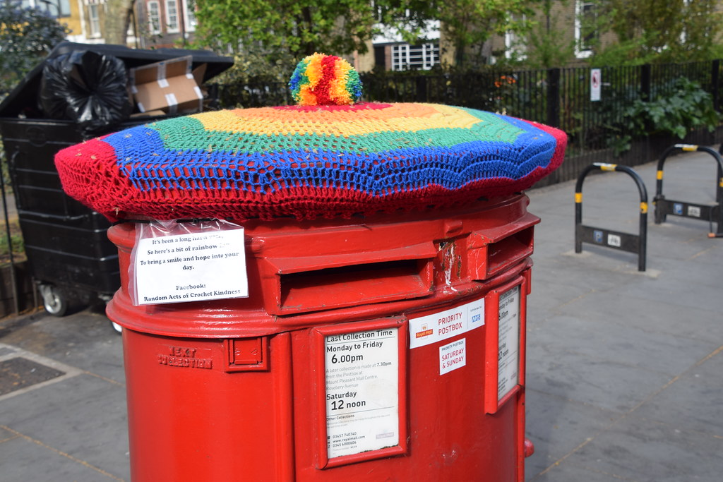 DSC_9421 Shoreditch London Hoxton Square. Royal Mail Post Box. It's been a long hard year. So here is a bit of Rainbow. To bring a smile and hope into your day. Random acts of Crotchet Kindness.