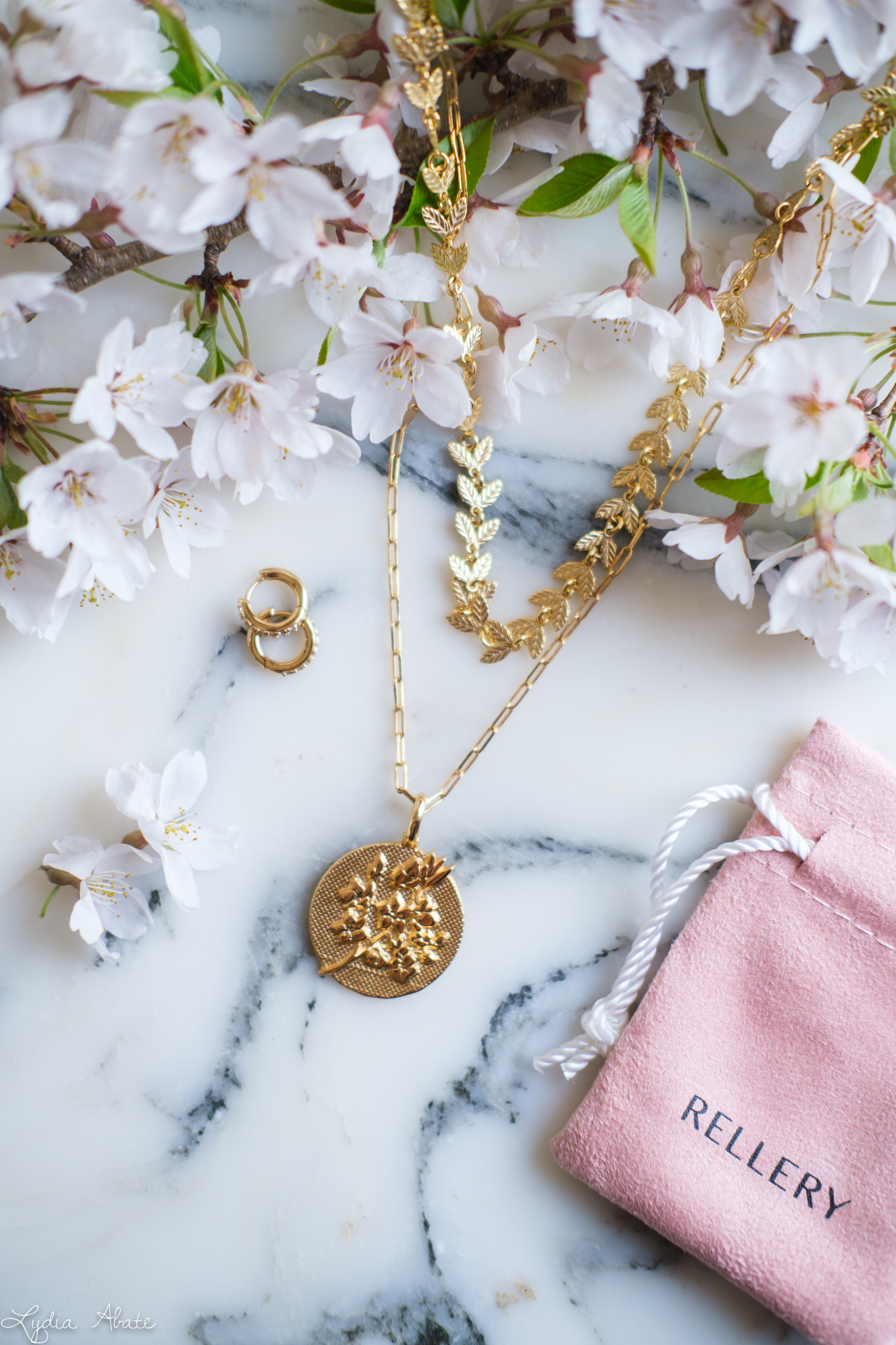 rellery cherry blossom pendant, laurel necklace, huggies-1.jpg