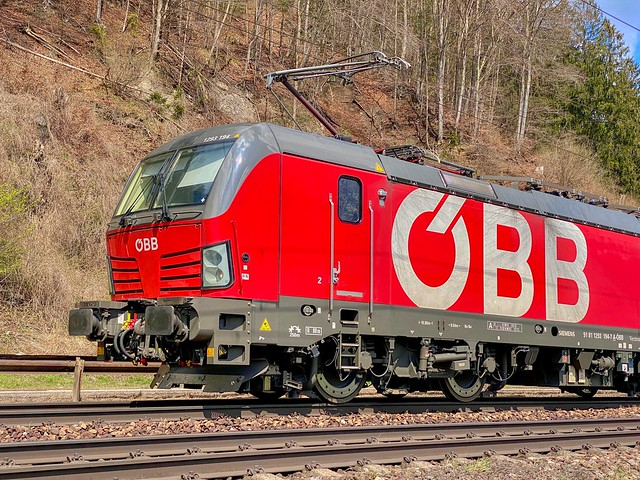 ÖBB Siemens Vectron locomotive between Kiefersfelden in Bavaria, Germanz and Kufstein in Tyrol, Austria