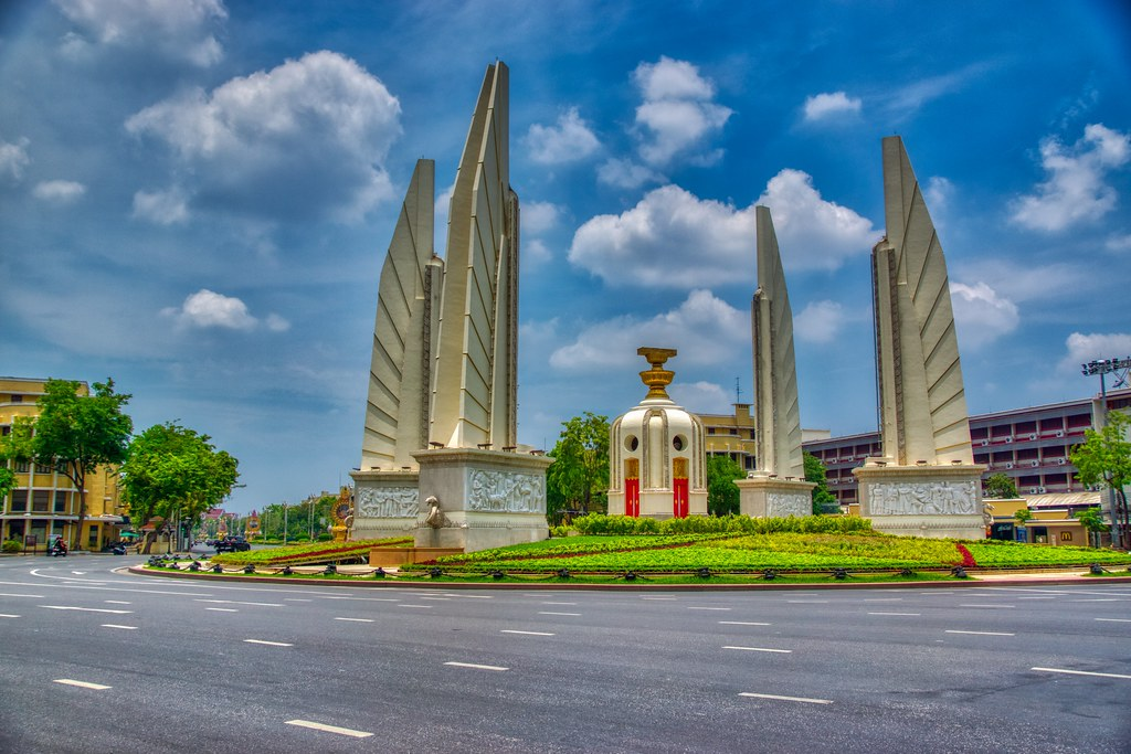 Democracy monument on Rattanakosin island (Old Town) in Bangkok, Thailand