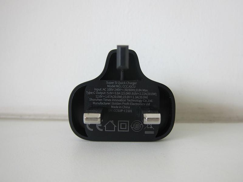 Baseus 20W USB-C PD Charger - Back