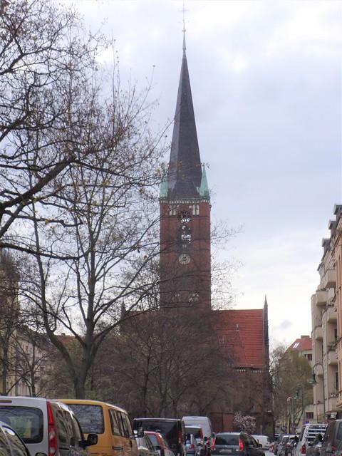 1891/94 Berlin neogotische evangelische Samariterkirche 60mH von Geheimen Hofbaurat Gotthilf Ludwig Möckel Samariterplatz in 10247 Friedrichshain