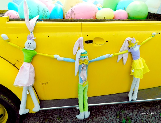 Yellow VW Convertible Filled with Easter Bunnies & Eggs