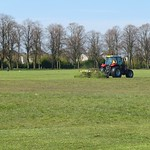 Cutting the grass at Haslam Park in Preston