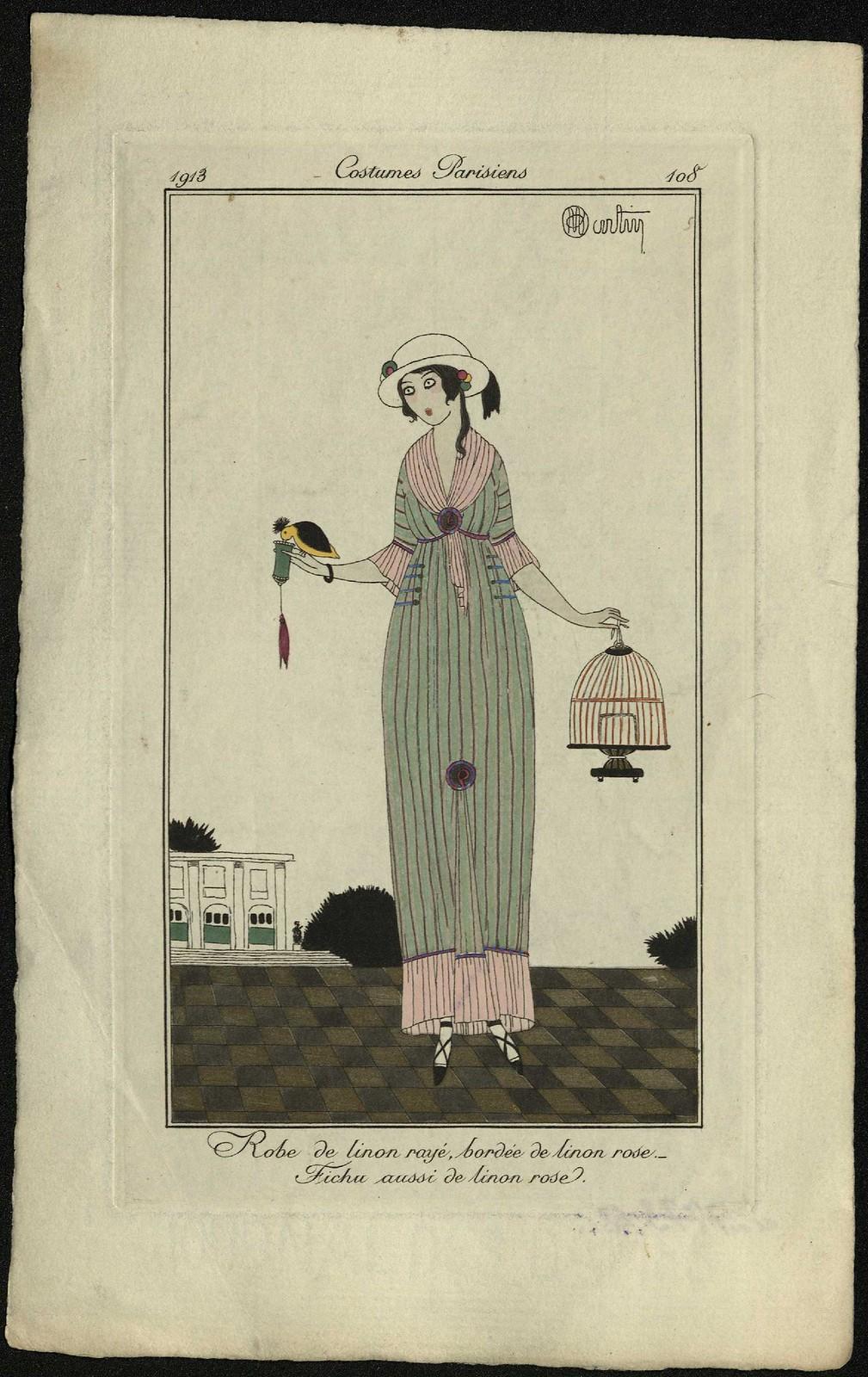 Полосатое льняное платье на розовой льняной подкладке.