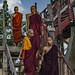 Burmese Monks At U Bein Bridge