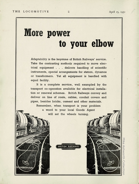 More power to your elbow - press advert issued by British Railways, 1952