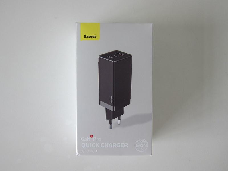 Baseus 65W GaN Dual USB-C Plus USB-A Charger - Box Front