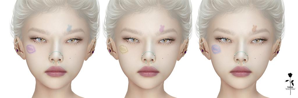 Neon Face Tattoo