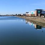 Calm, mirror like Preston Docks