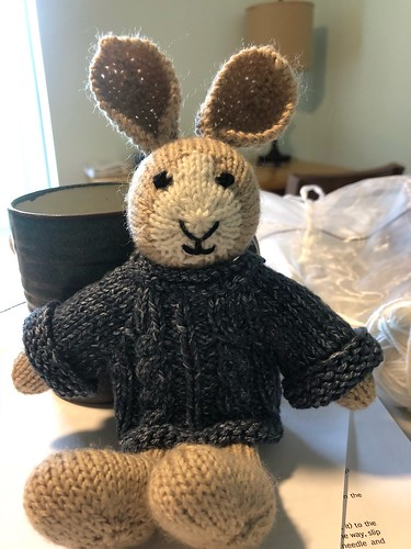 Beth finished her second Boy Bunny by Julie Williams (Little Cotton Rabbits). The sweater she designed for fun!