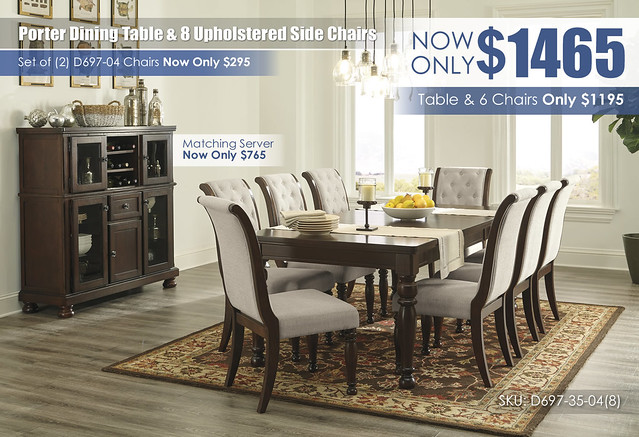 Porter Dining Table & 8 Upholstered Side Chairs_D697-35-04(8)-76_Updates