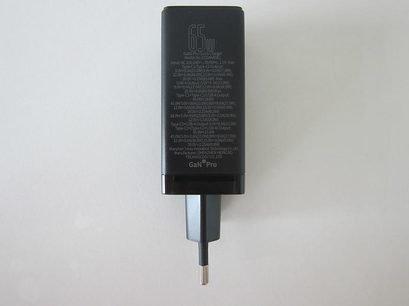 Baseus 65W GaN Dual USB-C Plus USB-A Charger - Bottom
