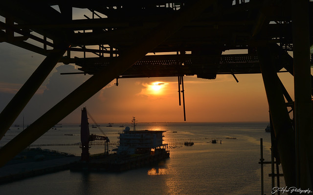 Sunset on the rig