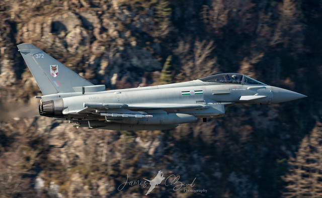 RAF Eurofighter Typhoon FGR4 ZK372 of 12 Squadron Low Level in the English Lake District