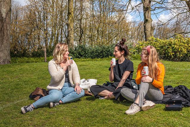 Three young women in the park, Breda (Netherlands)