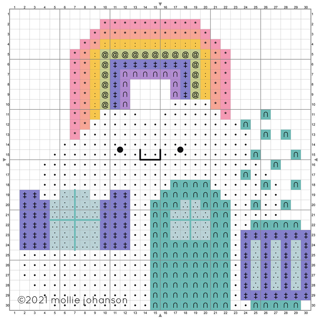 Colorful Cloud House Cross Stitch Chart