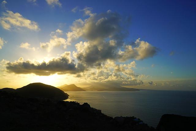 Splendid sunshine from behind the Peninsula, St Kitts & Nevis