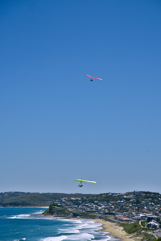 Hanggliders and parachutists, Mereweather Beach, ANZAC Walk, Newcastle