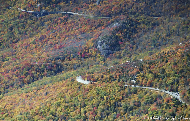 Linn Cove Viaduct Section of the Blue Ridge Parkway Aerial View with Peak Autumn Colors