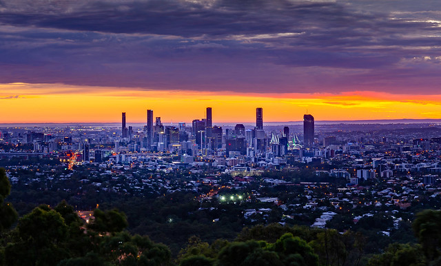 Bisbane City from Mount Coot-Tha