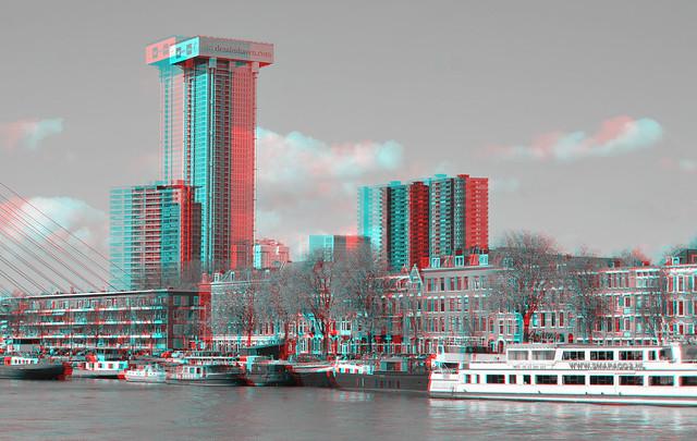 Rotterdam sky-line 2021 3D Hyper-anaglyph B&W
