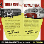Sat, 2021-04-17 20:12 - A fine fold out supplement to the October 1952 edition of 'Bus & Coach', the trade journal, and making reference to the upcoming Commercial Motor Show at London's WEarls Court. At the time of this publicity I suspect Leyland were indeed one of the world's pre-eminent manufacturers of bus, coach and commercial vehicles. The company, formed in 1896 as the Lancashire Steam Motor Company and renamed Leyland Motors Ltd after the town of origin, had become a major player in the production of motor vehicles especially during and after WW1. They played a role in the technological developments in both chassis construction and motor engine building that occurred in the 1920s and '30s and during the WW2 they had become a huge producer in support of the war effort. The post-war years saw them busy with the growth int he economy, the replacement of war-worn bus fleets, the final replacement of most of the UK's tram systems as well as a then buoyant export market.   Leyland had started to acquire other concerns int he 1950s, such as Scammell, and by 1960 the company was to diversify into car production and by the late 1960s much of the British motor industry was to coalesce around what had been Leyland.  At the 1952 show the company was 'economy' in operation and the inset shows three chassis types - the latest development of the post-war double deck chassis, the Titan PD range as well as two of the newer single deck chassis, one usually aimed at stage services, the Tiger Cub, and the Royal Tiger aimed more at the coach market. All three came with Leyland power units. At the time of this advert you could stil have a vehicle fitted with a Leyland constructed body from the Farington Works but this aspect of the business was closed in 1954.  This side of the fold out shows two of the chassis types that came from the company's post-war development work on underfloor engined vehicles. The Royal Tiger had been introduced in 1950 and had proved popular, especially with overseas customers. The Tiger Cub was new in 1952 and would prove to be popular amongst its intended customers. The Tiger Cub shown appears to be OTC 738, the demonstrator, working on local Ribble routes in Lancashire and RHA 600, belonging to Bearwood Coaches whose vehicles were registered in Smethwick alongside the vast Midland Red bus fleet, the latter a company that usually built its own vehicles but who in the 1950s actually purchased Leyland vehicles.