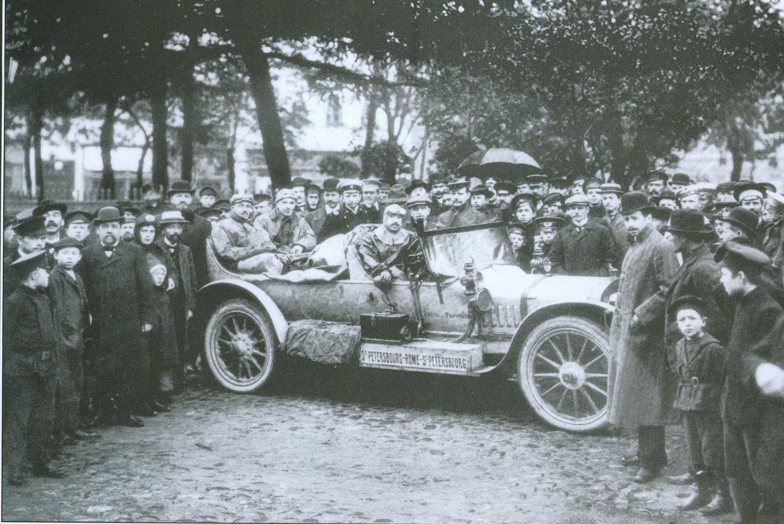 1901. Автопробег Петербург-Рим. За рулём А.П.Нагель, издатель журнала Автомобиль
