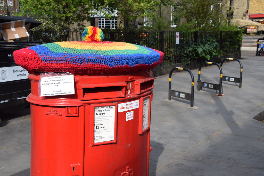 DSC_9420 Shoreditch London Hoxton Square. Royal Mail Post Box. It's been a long hard year. So here is a bit of Rainbow. To bring a smile and hope into your day. Random acts of Crotchet Kindness.