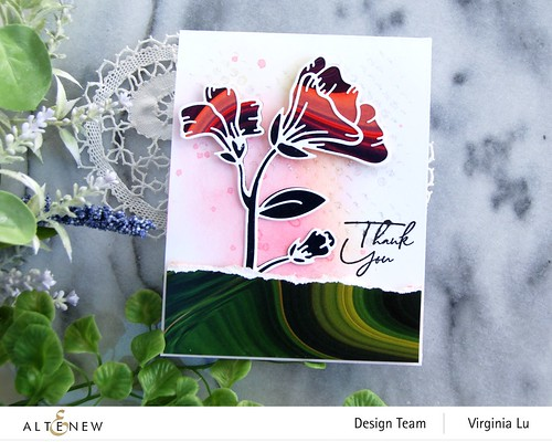 Altenew-Whimsical Garden Layering Die-Poured Acrylic 6x6 Paper Pad -Feeling dotty Stencil-Tall Foliage Stamp (Sentiment) -003
