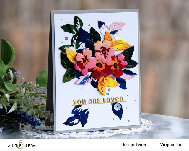 Altenew-Mini Flower Cluster Layering Die-Slim Sentiments Die-Poured Acrylic 6x6 Paper Pad -001