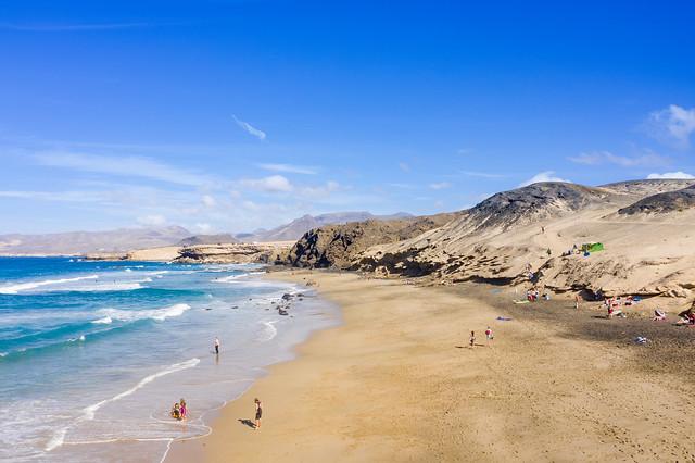 Surfing beach Playa del Viejo Reyes in la Pared on Fuerteventura, Canary Islands