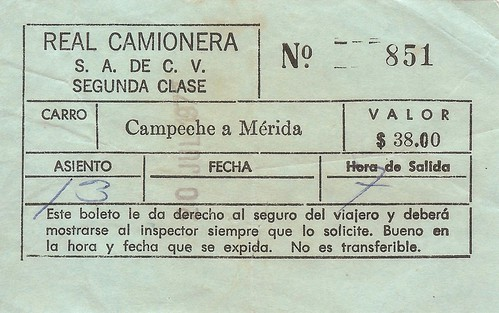 2nd class bus ticket Campeche to Merida
