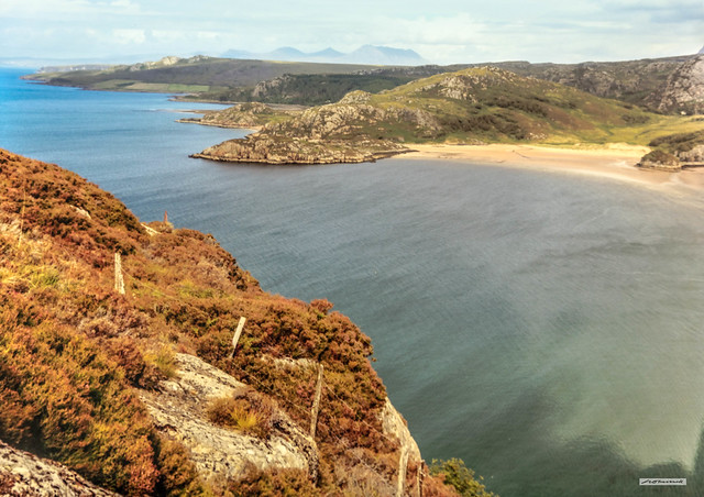 A north-easterly view of the cove after cove of golden sands around the coast of Gruinard Bay, Wester Ross, Scotland.