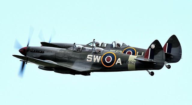 RAF Supermarine Spitfire HF MkIX PT462 G-CTIX SW-A & RAF Supermarine Spitfire two-seater T.9 trainer version MkIX PV202 G-CCCA 5R-H